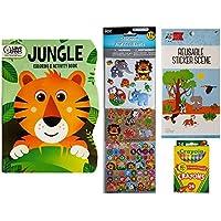 ジャングルとサファリ動物4 Pieceキッズアクティビティセット(ジャングル動物カラーリング&アクティビティブックステッカー、174、再利用可能なステッカーシーン、andクレヨン)