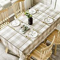 HLM テーブルクロス- 縞模様のコーヒーテーブルのテーブルクロス生地コットンリネン小さな新鮮なテーブルクロス長方形のテーブルクロス (Color : Coffee color, Size : 90x130cm)