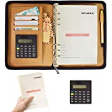 SAYEEC A5 Refillable Journal Binder PU Leather Business Notebook Portfolio Padfolio with Calculator 6 Ring Loose Leaf Travel