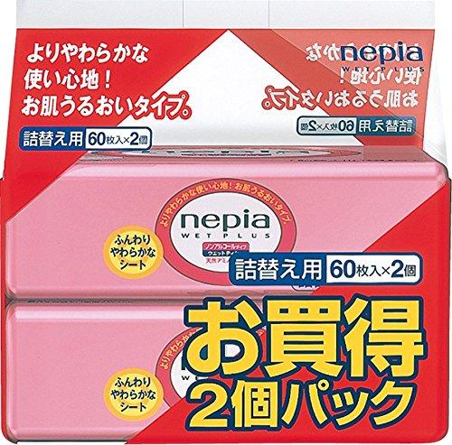 ネピア ウエットプラス 詰替 60枚×2個パック 無香料