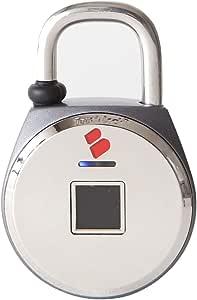 鍵の要らない指紋認証型スマート南京錠「TouchLock(タッチロック)」 XL (Big) IP54 防水・防塵設計 シルバー