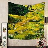 メアリー・J・テイラーカスタムタペストリーBeautiful Terraced Rice Field In Harvest Season in Mu Cang Chaiベトナム 55 X 55 Inch