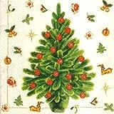 ヌーボー ペーパーナプキン 「クリーム色のクリスマス」 M74149 10枚入 33x33cm 3枚重ね