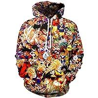 AMOMA Unisex Realistic Anime Hoodie Dragon Ball Naruto Bleach 3D Print Pullover Hooded Sweatshirt