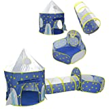 3 in 1 Sky Style Large Play Tent Crawling Tunnels and Ball Pit Set for Toddlers Indoor Outdoor with Carrying Bag (Blue)