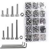 NUZAMAS 480 Pieces M2 M3 M4 304 Stainless Steel Hex Socket Cap Head Bolts and Nuts Assortment & Allen Key Wrench Kit with Sto