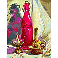 ArtzFolio Bottle Candle & Candlestick Unframed Premium Canvas Painting 16 x 21.3inch