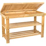 Shoe Rack Storage Bench Bamboo Organiser Entryway Organising Shelf with Storage Drawer on Top by BAMBUROBA
