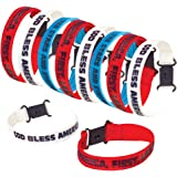 ArtCreativity Patriotic Bracelet Assortment, Pack of 12, Red, White, and Blue Wristbands with Patriotic Sayings, 4th of July