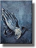 "Praying Hands上の写真ストレッチキャンバス、壁アート飾り、ハングする準備。 11"" x 14"" ブルー"