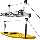VIVOHOME Heavy Duty 2-Pack 125 Lbs Capacity Ceiling Mounted Bicycle Kayak Canoe Garage Storage Rack Lift Hoists with Pulley S