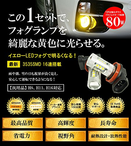 (ライミー)LIMEY NEWカラー!  新型 LED フォグ バルブ H8 H11 H16 兼用 80W 美光イエロー CREE製 3535SMDチップが黄色に発光するからフィルムカバーより奇麗な発色 プレミアム光 2800-2900K 2個入り 【保証書付き】 L-H8YF80W