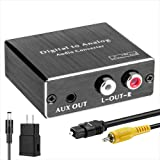ROOFULL Digital Optical to Analog Audio Converter Digital Optical Toslink (SPDIF) & Coaxial to Analog RCA (L/R) and 3.5mm Ste