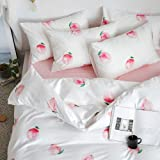 MKXI Peach Duvet Cover Sweet Girl Bedding Queen White and Pink Fruits Duvet Cover Set Teenage Bed Set Cute Peaches Pattern fo