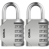 ORIA Combination Lock, 4 Digit Combination Padlock Set, Metal and Plated Steel Material for School, Employee, Gym Or Sports L