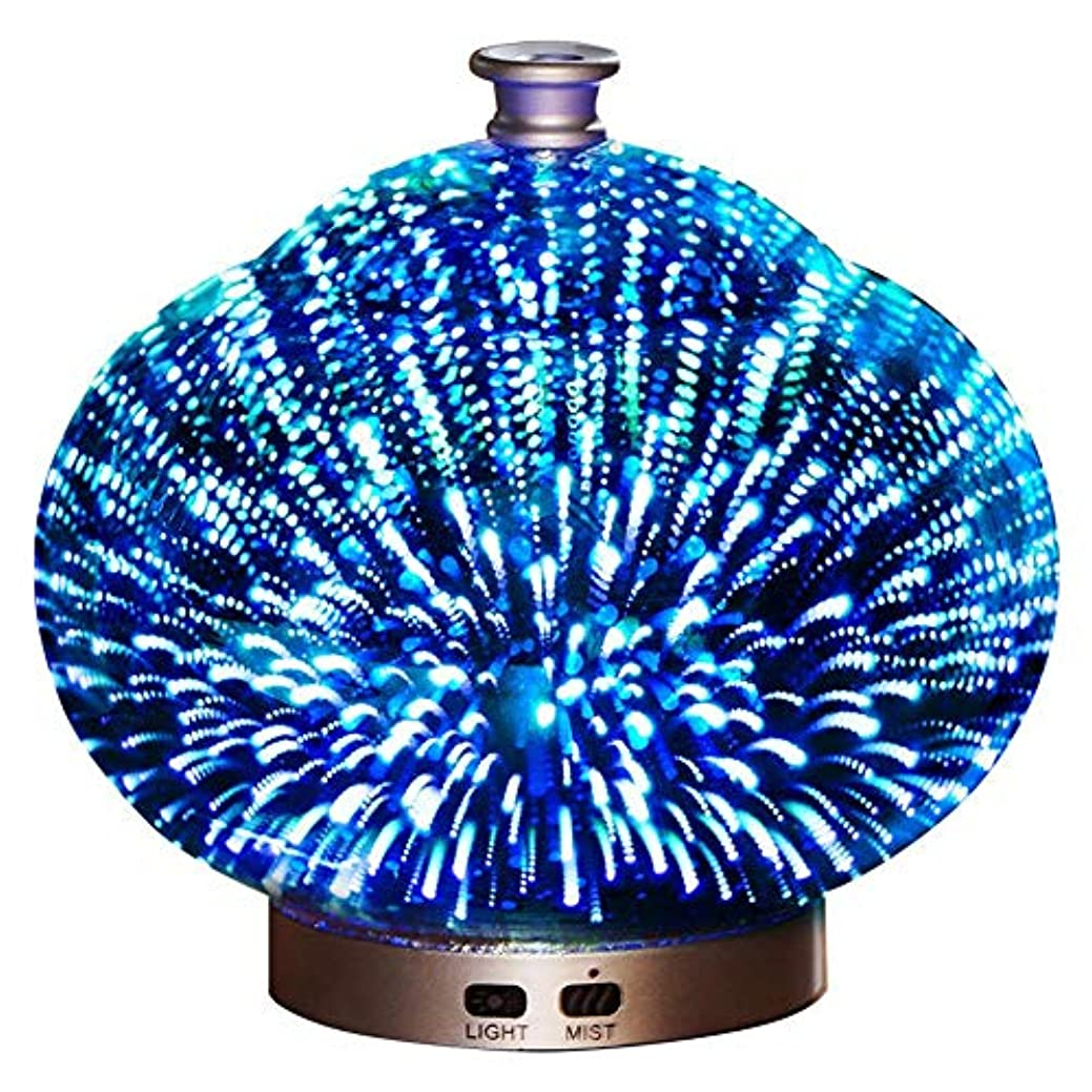 免除ペフ不注意3 D ガラス 精油 ディフューザー, 超音波式 クールミスト アロマディフューザー ホーム ミュート 加湿機 の ベッド オフィス Yoga-a