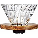 HARIO (ハリオ) V60 耐熱ガラス 透過 コーヒードリッパー オリーブウッド 02 コーヒードリップ 1~4杯用…