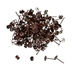 Baosity 100 Sets 6mm Iron Flat Pad Ear Stud Post + Backs Stoppers For DIY Earrings