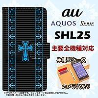 手帳型 ケース SHL25 スマホ カバー AQUOS SERIE アクオス ゴシック 黒×水色 nk-004s-shl25-dr1009