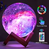 BRIGHTWORLD Moon Lamp Kids Night Light Galaxy Lamp 5.9 inch 16 Colors LED 3D Star Moon Light with Wood Stand, Remote & Touch Control USB Rechargeable Baby Girls Boys Christmas