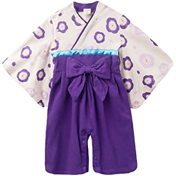 059ca8d44990f NEWSTORY ベビー 袴 ロンパース お食い初め 衣装 初節句 女の子 着物 (04. 紫・70cm
