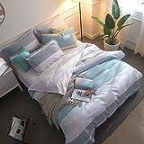 Lausonhouse 北欧風 綿100%先染めストライプ掛けカバー,YKK全開ファスナー,布素材の包装で,ダブル 190x210cm