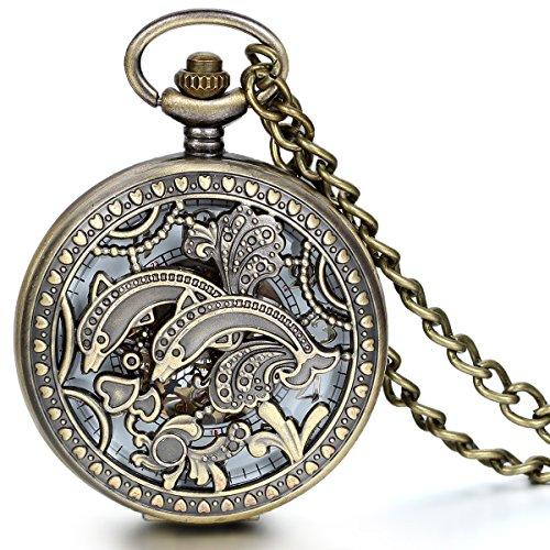 [해외]JewelryWe 소중한 사람과 그와 그녀에게 선물 : 앤티크 풍의 태엽 식 회중 시계~ 펜던트 시계 포켓 시계~ 하트 돌고래~ 합금/JewelryWe important person~ boyfriend · gift for her: antique style hand winding pocket watch~ pendant watch pock...