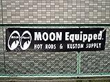 ホットロッダー ムーンアイズのサーキットバナー(ブラック) レーシングバナー バナー ガレージ カスタム