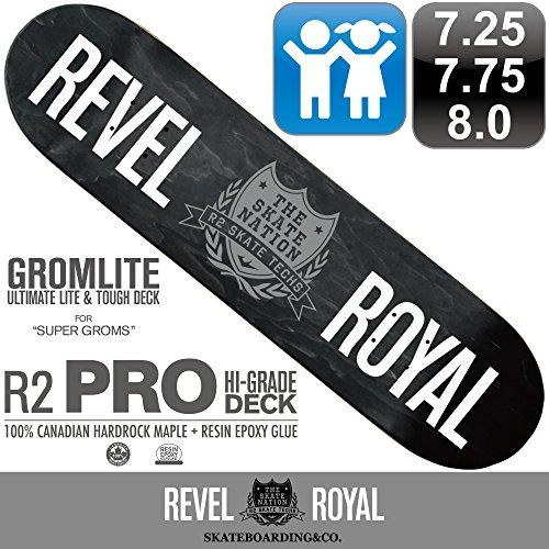 REVEL ROYAL スケートボード スケボー プロ シリーズ ロゴ デッキ 7.25 / 7.75 / 8.0インチ 超軽量 100% カナディアン ハードロック メイプル + エポキシ樹脂グルー