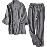 Pugrwei 甚平 パジャマ メンズ 男女兼用 浴衣 寝巻き 上下セット 二重ガーゼ 綿 通気性 肌触りよい 前開き…