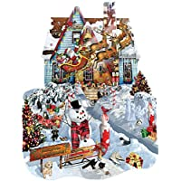 SunsOut Christmas At Our House Shaped Jigsaw Puzzle (1000-Piece) by SunsOut