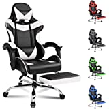 ALFORDSON Gaming Chair Racing Chair Executive Sport Office Chair with Footrest PU Leather Armrest Headrest Home Chair in Whit