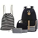 "BAGTOP School Backpack Set - Canvas Teen Girls Bookbags 15"" Laptop Backpack + Lunch Bags + Drawstring Backpack + Pen Case Bag"