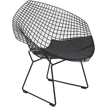 デザイナーズチェア リプロダクト チェア ハリーベルトイア 北欧 ダイヤモンドチェア 【Diamond Chair】 (ブラック×ブラック)