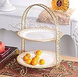 EALLIFE ケーキスタンド 3段 ゴージャスな金枠プレート アフタヌーンティー 皿 セット (2段皿スタンド)