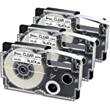 Aonomi Compatible Label Tape Replacement for Casio XR-9X2S XR-9X 9mm Labeling Tape for Casio KL-120 KL-60 KL60SR KL100 KL750