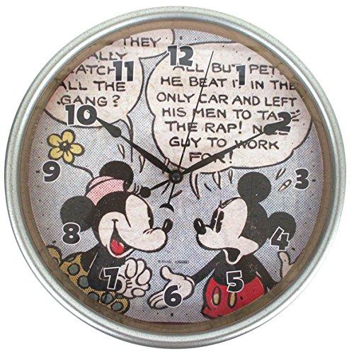 ディズニー 壁掛け時計 ヴィンテージウォールクロック アナログ表示 連続秒針 ミッキーマウス & ミニーマウス DN5519010MM