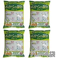 常陸化工 トイレに流せる おからの猫砂 グリーン (7L×4袋)