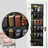 靴収納 ウォールポケット24ポケット 壁掛け式シューラック 靴下着小物収納 ウォールラック 壁掛け式シューラックフック付き (ブラック)