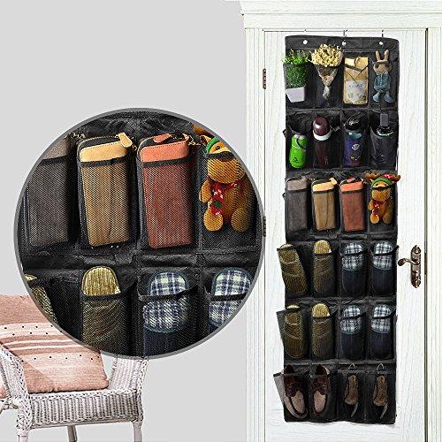 Wittimes 収納袋 ウォールポケット24ポケット【3色ブラウン/ブラック/ホワイト】 壁掛け式シューラック 靴下着小物収納 ウォールラック 壁掛け式シューラックフック付き (ブラック)