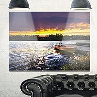 """デザインアートmt10887–20–12ボートドッキングin Lake at sunsetモダンSeashoreメタル壁アート 28x12"""" MT10887-28-12"""
