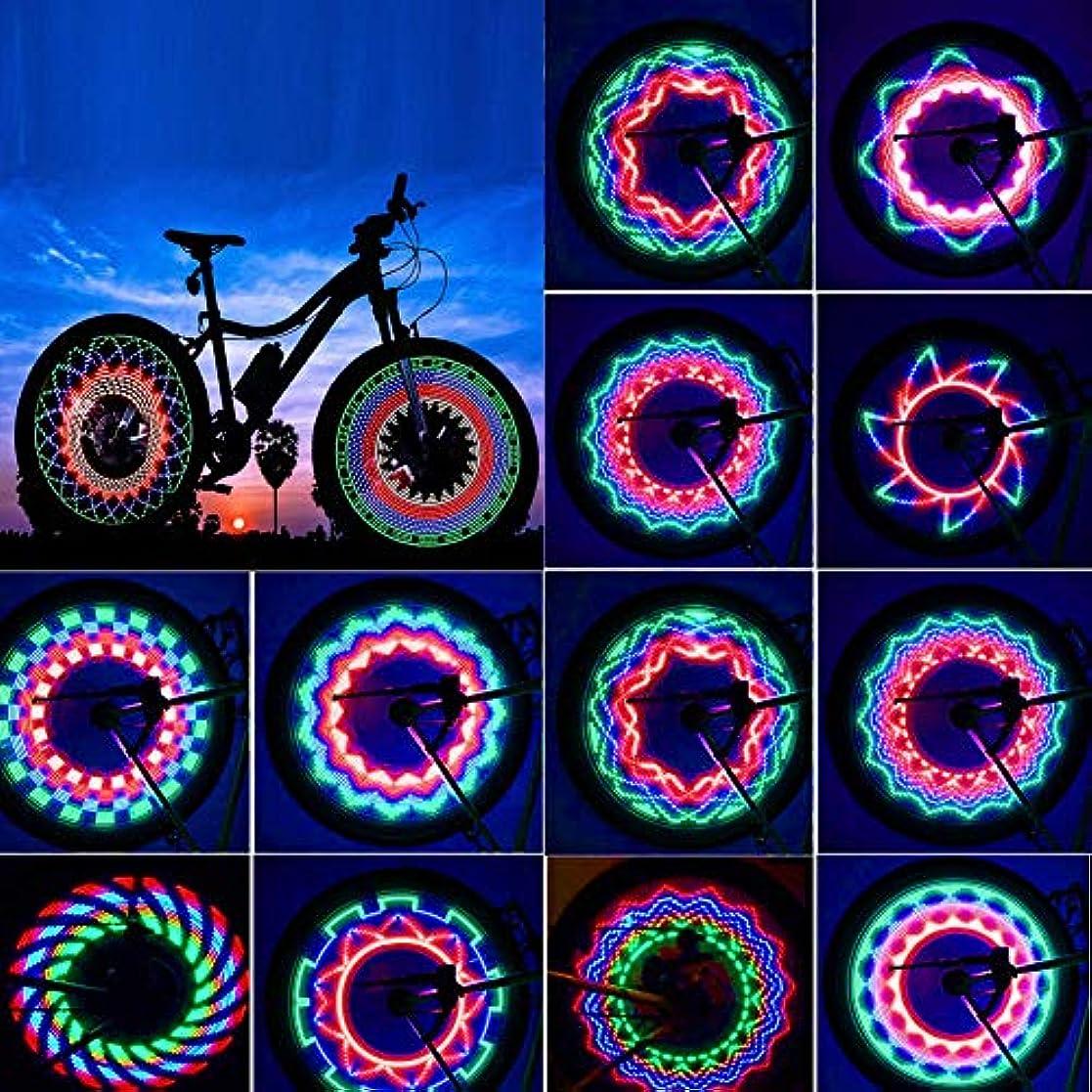 さらにオートマトンスキッパーCozyswan 新型自転車用スポークLEDライト タイヤライト 電池式 図案調整可能 夜道 安全警告 IP55防水 取付簡単 ホイールライト 追突事故防止 疾走するアート タイヤを回すと光の輪になる おしゃれ