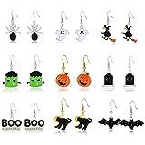 PHALIN Halloween Earrings Set, Spider Web Pumpkin Ghost Bat Drop Earring Studs for Women Girls Halloween Jewelry Set for Part