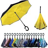 YOKITOMO 長傘 レディース 逆さ傘丈夫 撥水 内外2枚の布の構成で耐風 熱中症対策 完全遮光 遮熱効果 閉じると…