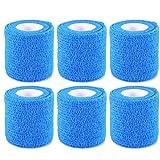 【6個セット】ひじ・足首兼用型 サポーター スピードラップ 自着性弾力包帯 伸縮テープ 粘着式 フリーサイズ ブルー