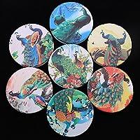 HuaQingPiJu-JP ミニラウンド漫画パターン小さなガラスミラーサークル工芸装飾化粧品アクセサリー