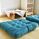 HIGOGOGO Thicken Tufted Cushion, Solid Square Seat Cushion Corduroy Chair Pad Pillow Seat Soft Tatami Floor Cushion for Yoga