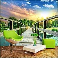 Xbwy カスタム壁画壁紙3D木製橋廊下自然風景写真壁紙寝室のテレビの背景-250X175Cm