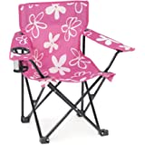 Emily Rose Kid's Camp Chair   Pink and White Flower Child's Squad Folding Outdoor Lawn Beach Chair with Cup Holder and Carry
