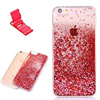 iPhone 6 Case SXUUXB iPhone 6s Liquid Cover Luxury Shiny Scratch Resistant Hard Plastic Back + Soft Rubber TPU Edge with Rhinestone for Apple iPhone 6/6s 4.7 Red + 1 Free Bracket(Color Random) [並行輸入品]